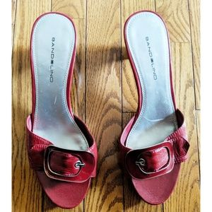 Bandolino Shoes - Women's Bandolino Red Leather Buckle, Slide Heels